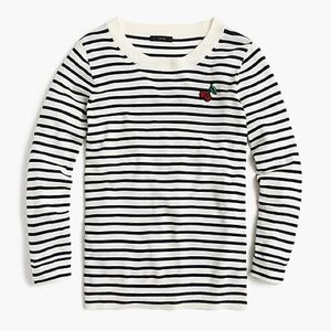 NWT J. Crew Cherry Patch Striped Tippi Sweater